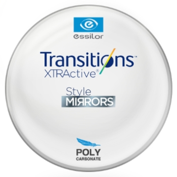 Essilor Transitions® XtrActive® - Style Mirrors - Polycarbonate Plano Lenses